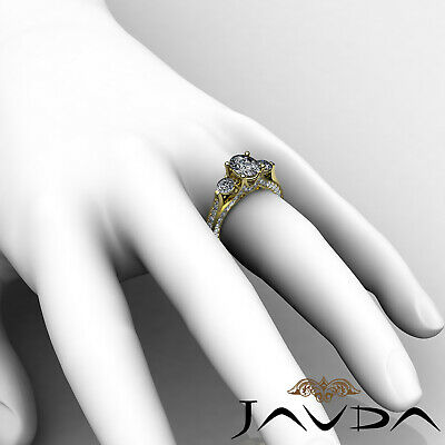 4 Prong Setting 3 Stone Oval Diamond Engagement Cathedral Ring GIA H SI1 2.3 Ct 11