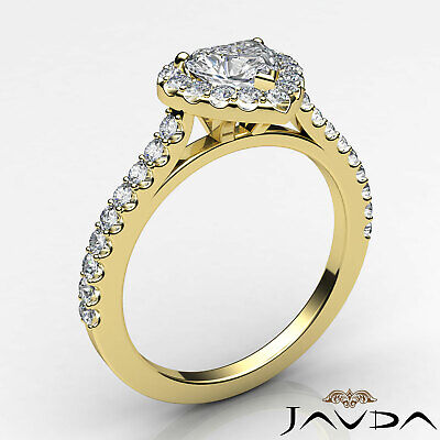 Halo U Cut Prong Set Heart Shape Diamond Engagement Ring GIA Certified F VS2 1Ct 8