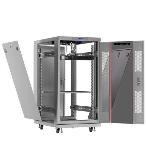 22U IT Rack Server Cabinet Light Gray LCD Auto Cooling w/ Shelf - PDU - Rollers