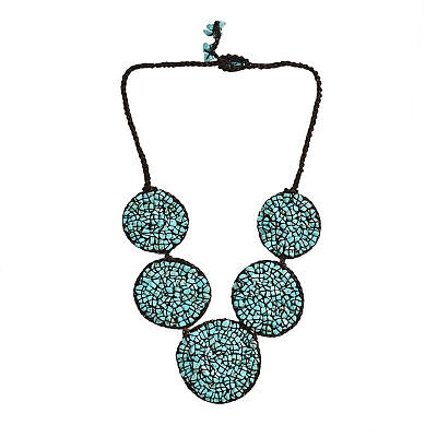 Mosaic Bubble Bib Handmade Turquoise Necklace