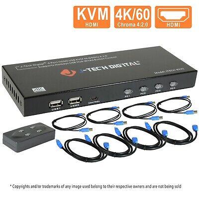 J-Tech Digital 4 Port HDMI KVM Switch w/USB/HDMI Cables, Monitor/Control Computer