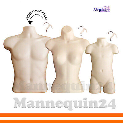 3 Flesh Mannequin Torsos -set Of Male Female Child Hanging Body Forms 3 Hangers