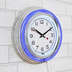 Lavish Home 14 Retro Blue Neon Wall Clock w/Double Light Ring Vintage Style