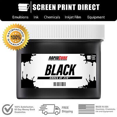 Black - Screen Printing Plastisol Ink - Low Temp Cure 270f - 8 Oz