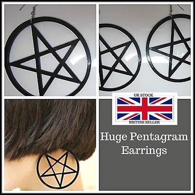 1 x Pair HUGE Pentagram Earrings,Pierced,Fashion,Costume,Gift Idea,Bohemian,Boho (Couple Costumes Idea)