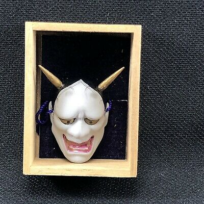 ST23 Japanese Miniature Hannya Noh Mask Demon Devil Mask Wood Box