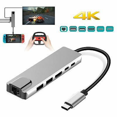 6in1 USB Hub Adapter Type-C to HDMI Charging 2 USB 3.0 Ports For Nintendo Switch