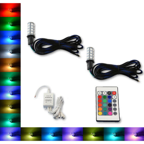 H3 27 SMD RGB Multi-Color Changing Shift Led Fog DRL Light Bulb IR Pair