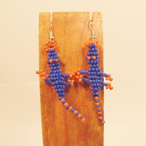 WHOLESALE LOT 20 PCS Handmade Orange Blue Beaded Gator Earrings Team Colors