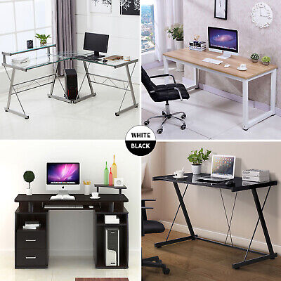 PC Computer Desk Laptop Table Study Workstation Home Office Furniture w/Shelf Glass Computer Desk