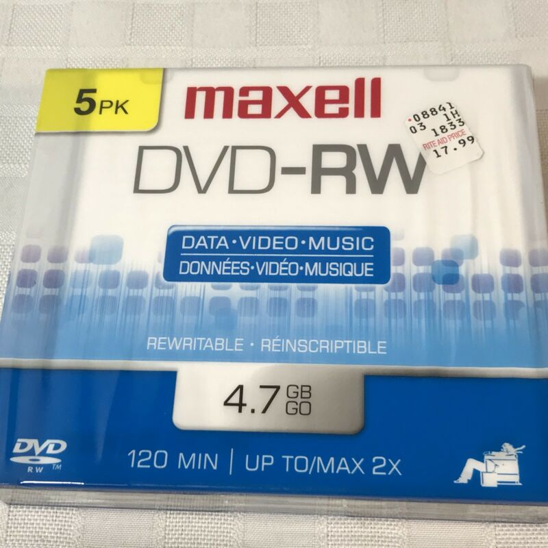 5pk Maxell DVD-RW Data Video Music Rewritable Reinscriptible 4.7 GB 120 MIN