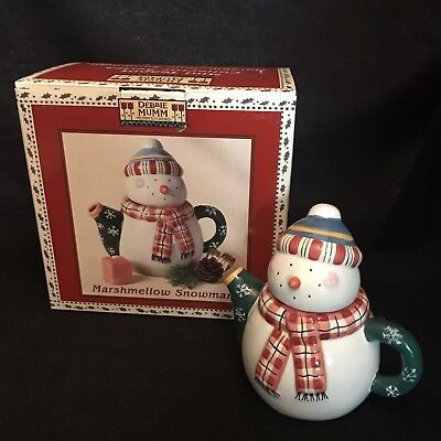 Marshmellow Snowman Mini Teapot Debbie Mumm Sakura China Hat Scarf Snowflakes - Mini Snowman Hats