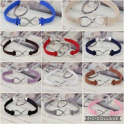 ∞ Leder Armband Freundschaft infinity unendlich charm Geschenk Trend unisex ∞ (Freundschaft Charm Armbänder)