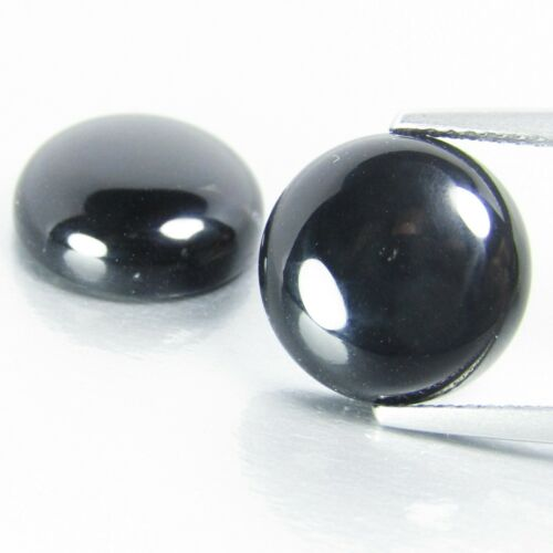 11.15Cts Excellent Natural Black Onyx 12.3mm Round Shape Matching Pair Ref VDO