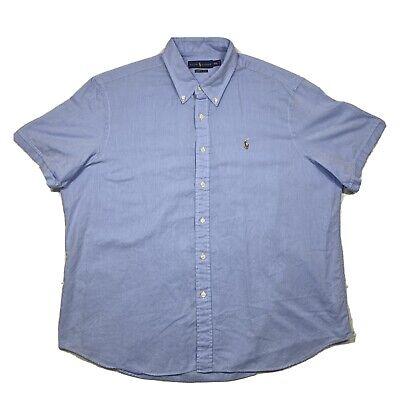 Ralph Lauren Chambray Oxford Mens XXL Solid Blue Button Down Short Sleeve