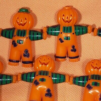 Blow Mold Halloween Vtg Pumpkin Scarecrow String Light Plastic Covers Lot of 16