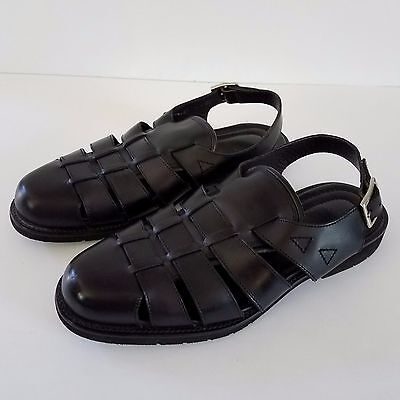 Allen Edmonds Sandals Barbados Black Leather Sz 10 Heel Strap Mens Made In Italy