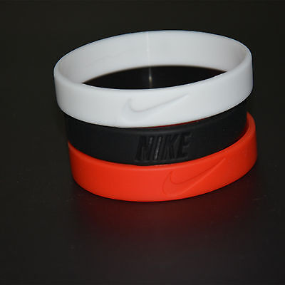 3 Pcs Wristband Silicone Wrist Band Rubber Bracelet Run Sport Basketball 3 Color