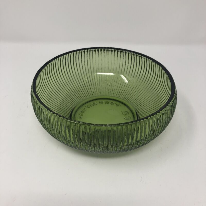 """VINTAGE E.O BRODY CLEVELAND RIBBED GREEN DEPRESSION GLASS CANDY DISH BOWL 6"""""""