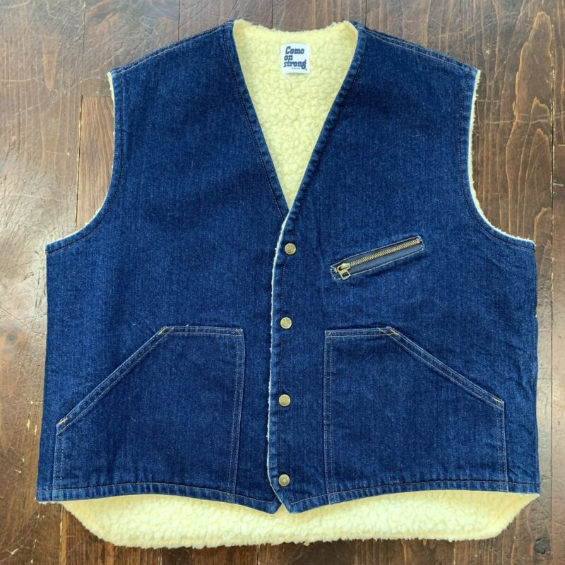 Vintage Come on Strong Denim Shearling Sherpa  Lined Snap Up Vest Mens Size XL