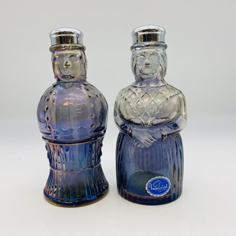 """6"""" Oversized Imperial Glass Salt & Pepper Shakers Couple Man & Woman Carnival"""