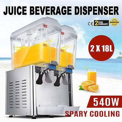 540w Commercial 2 Tank Juice Beverage Dispenser Cold Drink Jet Spray Refrigerate
