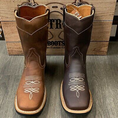 MEN'S WORK WESTERN BOOTS BULL DOG TOE LEATHER SHAFT WITH LEATHER STRIP ON SHAFT