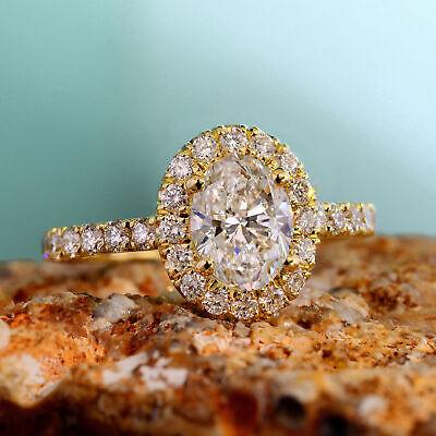 Natural 2.20 Ct Oval Cut Halo U-Setting Pave Diamond Engagement Ring E SI1 14k 2