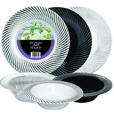Black And White Plastic Plates (Mashers Clear/ Black/ White Silver Swirl Disposable Plastic Dinner Plates/)