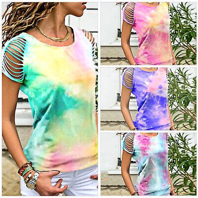 UK Womens Summer Tie-dye Printed Tops Shirt Casual Short Sleeve Blouse T-Shirts