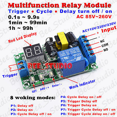 Ac110v 120v 220v 230v Led Time Cycle Delay Switch Timer Relay Turn Onoff Module