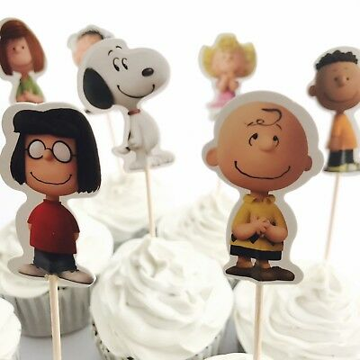 12x Peanuts Cupcake Food Cake TOPPER. Party Supplies Snoopy Charlie Brown Bag (Charlie Brown Party Supplies)