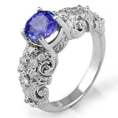 1.4Ct Round Diamond Tanzanite Engagement VS1 Anniversary Ring 14K White Gold