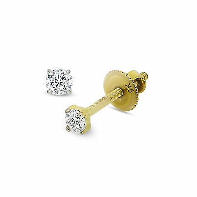 9CT YELLOW GOLD DIAMOND STUD EARRINGS 2.5MM ROUND WHITE 0.10 CARAT GIFT BOXED