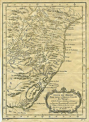 c.1754 Genuine Antique Map of eastern Brazil. by D'Anville