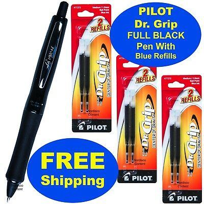 Pilot Dr. Grip Full Black Pen With 3 Packs Blue Ink Refills 1.0mm Medium Point