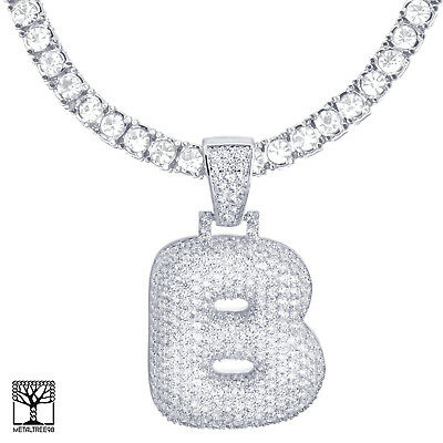 Iced CZ Bubble Letter B Initial Silver Plated Pendant 24