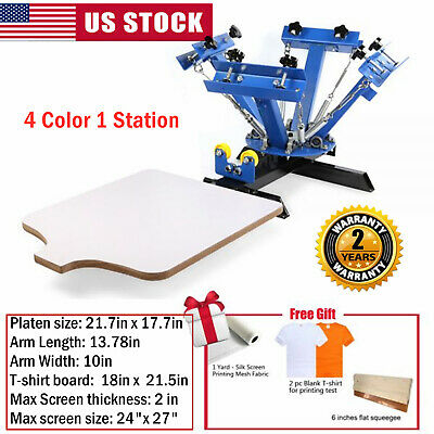 4 Color 1 Station Screen Printing Machine Diy T-shirt Press Printer Euipment