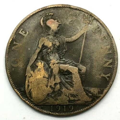 1919 H GREAT BRITAIN- GEORGE V - ONE PENNY BRONZE COIN- KM# 810 RARE.