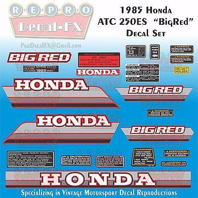 1985 Honda ATC 250ES Big Red Reproduction 22 Pc Vinyl Decals Three Wheeler