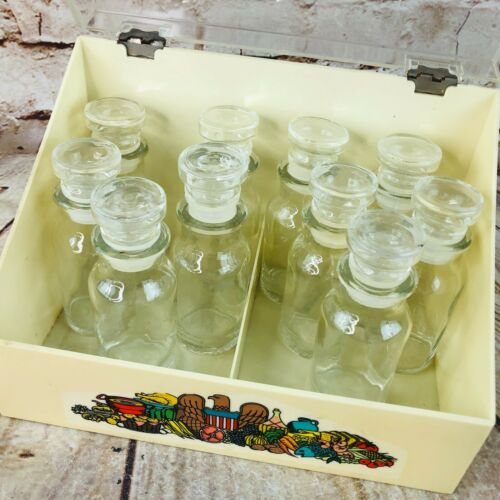 10 vtg glass spice containers and yellow plastic bin MCM retro Kitchen