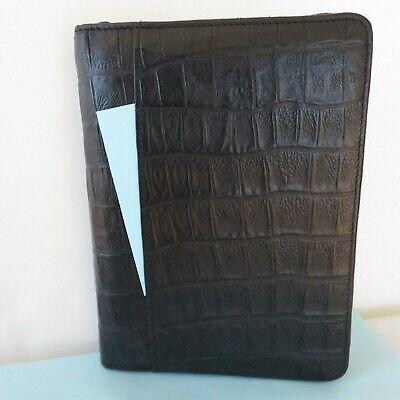 Compact Portable Black Cowhide Croco Leather Planner Binder Zip