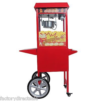 New 8 Oz Electrics Popcorn Red Antique Style Popcorn Popper Machine Stand Cart