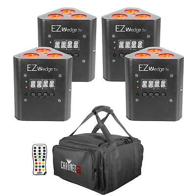 Chauvet DJ EZ Wedge Tri Battery Power Wireless LED Wash Lights w Remote + Bag 4