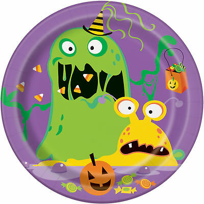 8 X Halloween Witzig Monsters Papierteller 18cm Süß Kinder Bunt Design