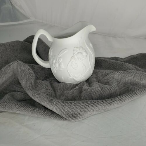 Vintage Porcelain Bisque Pitcher Creamer Pint Floral White Made in Mexico