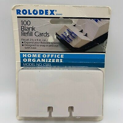 Vintage Rolodex Rotary File 100 Card Refill 2.25 X 4 Sealed Model Cs83 White