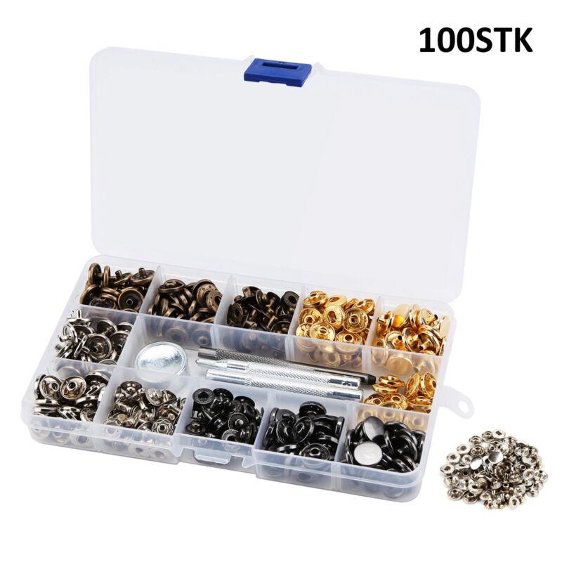 100 Set Druckknopf Druckknöpfe Metall Knopf jeans Knöpfe Buttons Werkzeug Kits