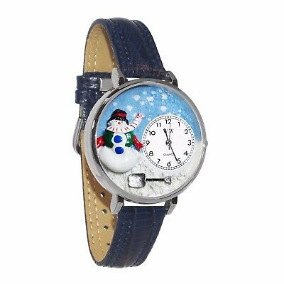 Whimsical Watches Unisex U1220008 Christmas Snowman Navy Blue Leather Watch