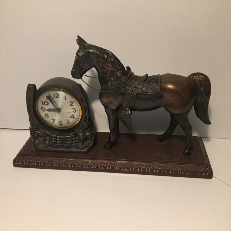 Antique Sessions Cast Metal Western Horse Mantle Clock Made In U.S.A.
